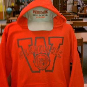 Orange Sweatshirt with cap