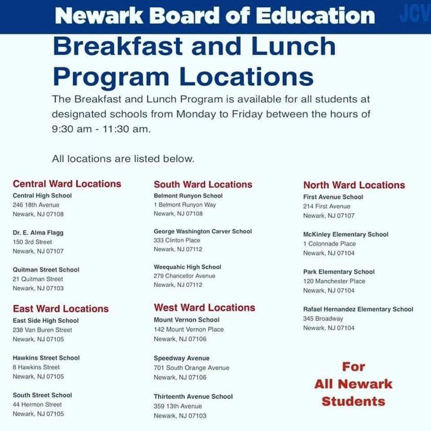 NPS Breakfast-Lunch Schedule during virus closure