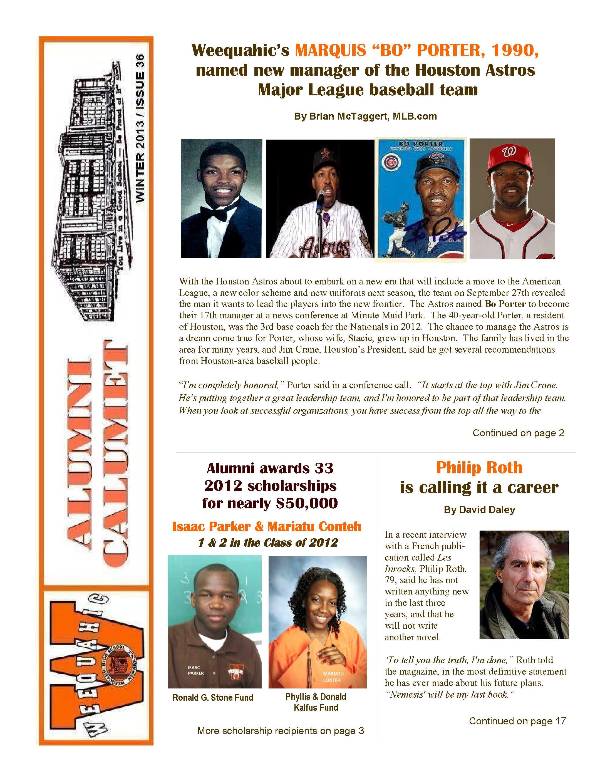 Winter 2013 Alumni Calumet 36 Cover